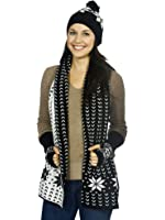 Simplicity Adult Child Winter Knitted Warm Gloves Scarf Hat Set