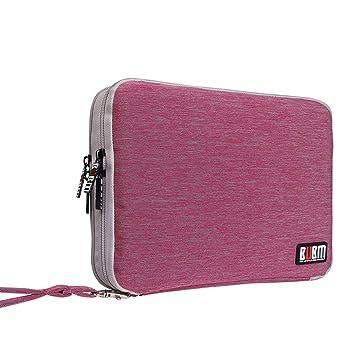 BUBM Organizador de Accesorios Eléctrica Estuche para Guardar Cables Memorias USB Bolsa con Cremallera para iPad Bolso de Doble Capas, Rosa y gris