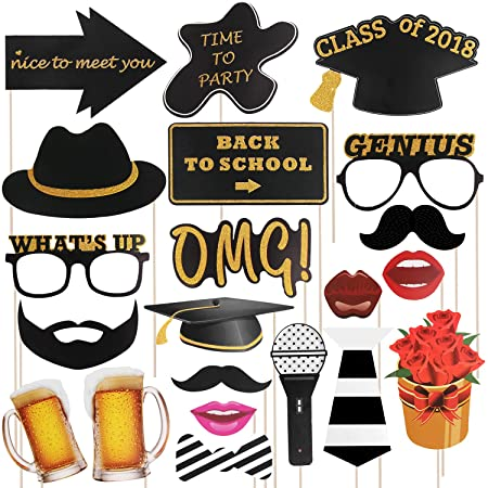 Yodeace 2018 Back To School Photo Booth Props 21pcs Diy Glitter
