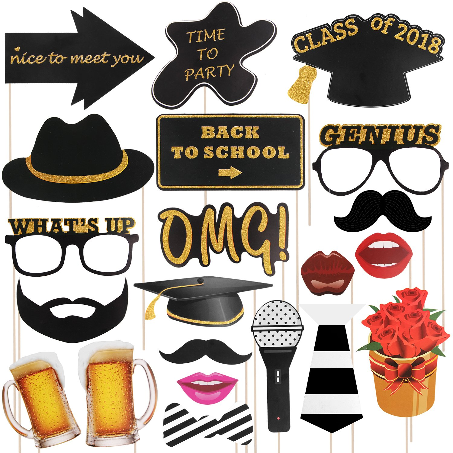 Satkago Back to School Photo Booth Prop, 21 Pcs Glitter Back To School Decorations and Photo Booth Props Kit for School Party Supplies