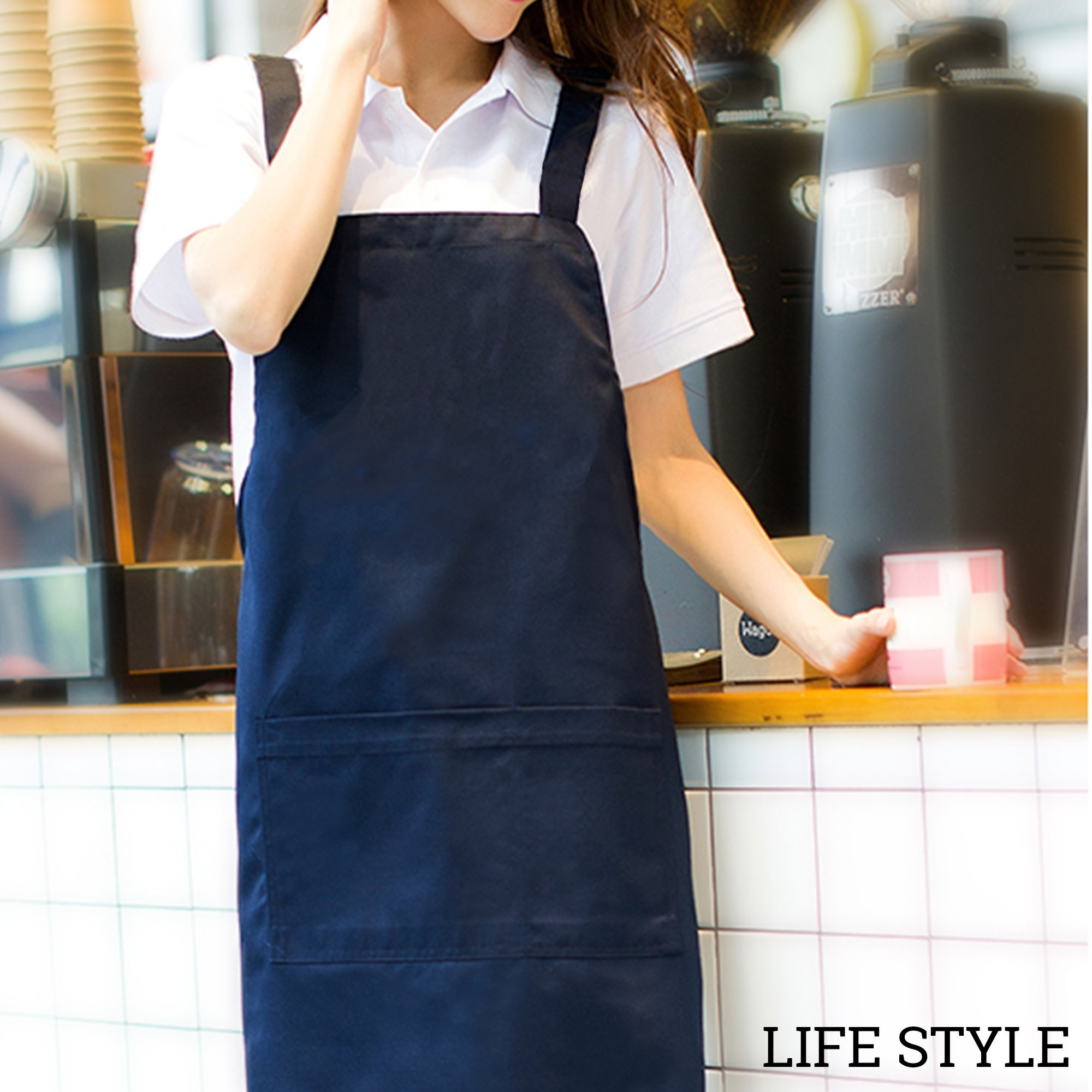 Black Anchor Flower Gift Women Waterproof Aprons For Cooking Apron With Pockets by CVV Apron (Image #3)