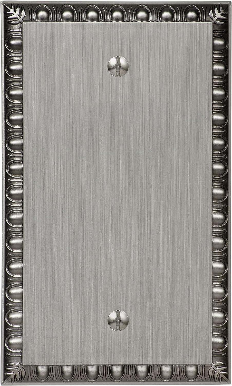 Amerelle Egg & Dart Single Blank Cast Metal Wallplate in Antique Nickel
