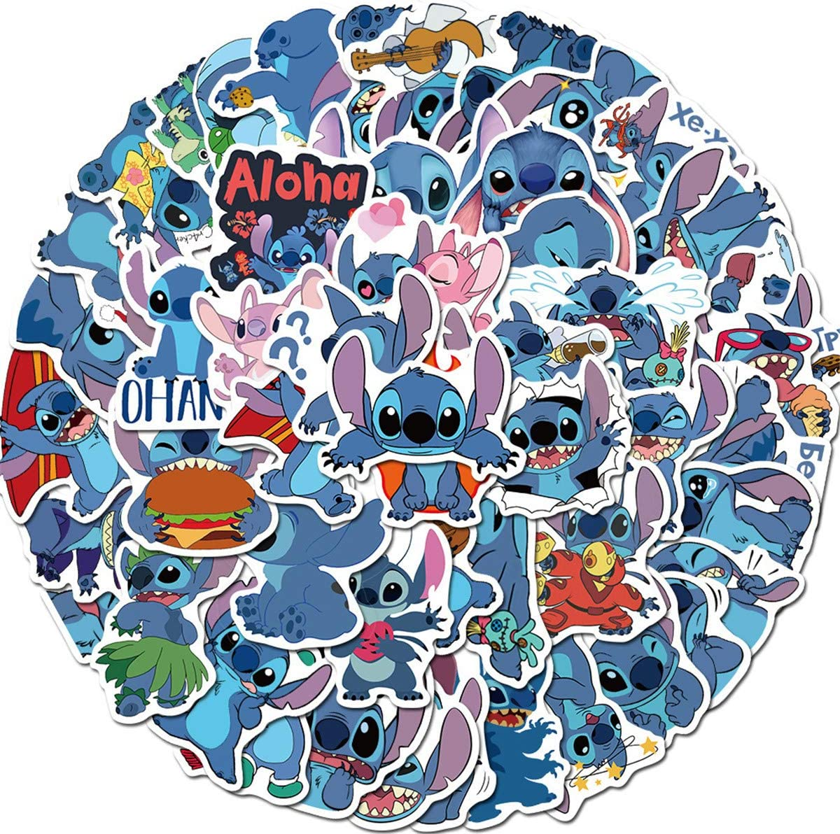 50pcs Cartoon Lilo & Stitch Laptop Vinyl Stickers car sticker For Snowboard Motorcycle Bicycle Phone Computer DIY Keyboard Car Window Bumper Wall Luggage Decal Graffiti Patches (Cartoon Lilo & Stitch)