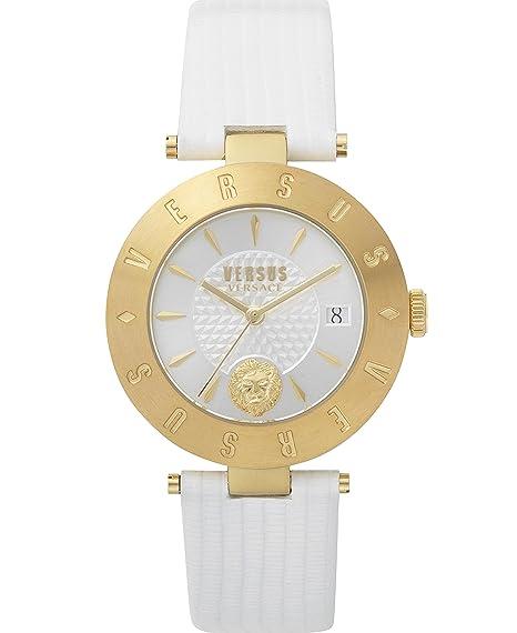 Versus SP772118 - Reloj de pulsera con logotipo para mujer, color blanco y dorado