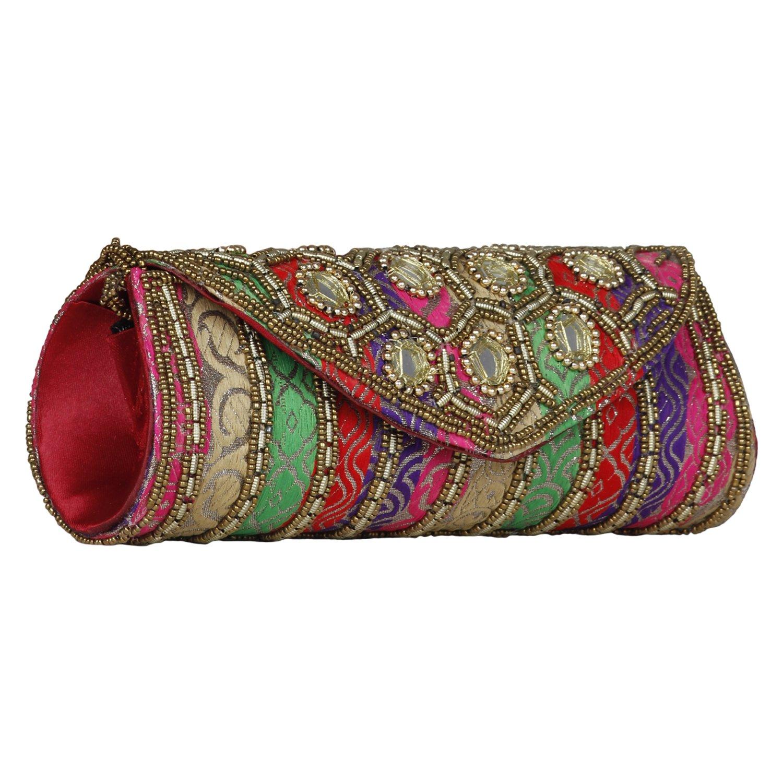 Women Sizzling Jaipuriya Style Hand-Cum-Wedding Clutch -Multicolor