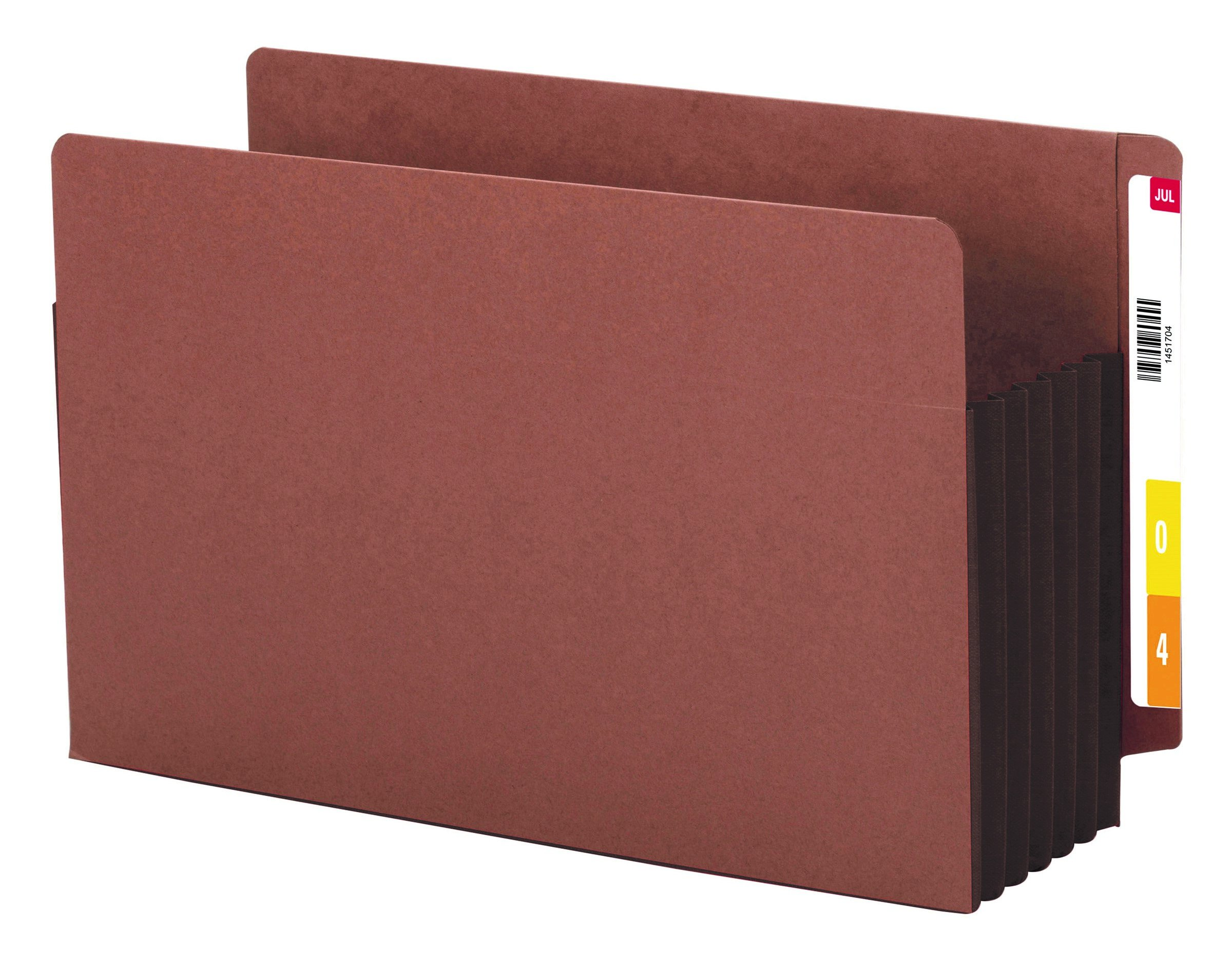 Smead End Tab File Pocket, Reinforced Straight-Cut Tab, 5-1/4'' Expansion, Extra Wide Legal Size, Redrope with Dark Brown Gusset, 10 per Box (74691) by Smead