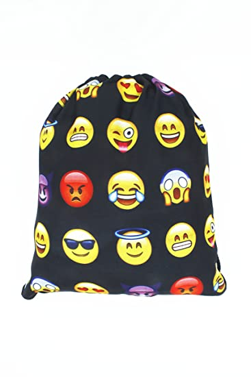 Amazon.com: Emojis Drawstring Backpack Bags with Polyester ...