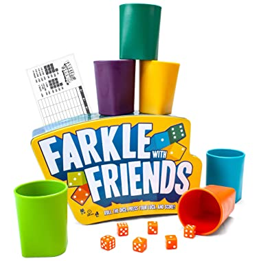 Brybelly Farkle with Friends - The Classic 6-Player Dice Game in a Premium Storage Tin - Colored Dice with Matching Cups - Gaming & Family Party Fun for Kids, Teens, Adults, & Seniors