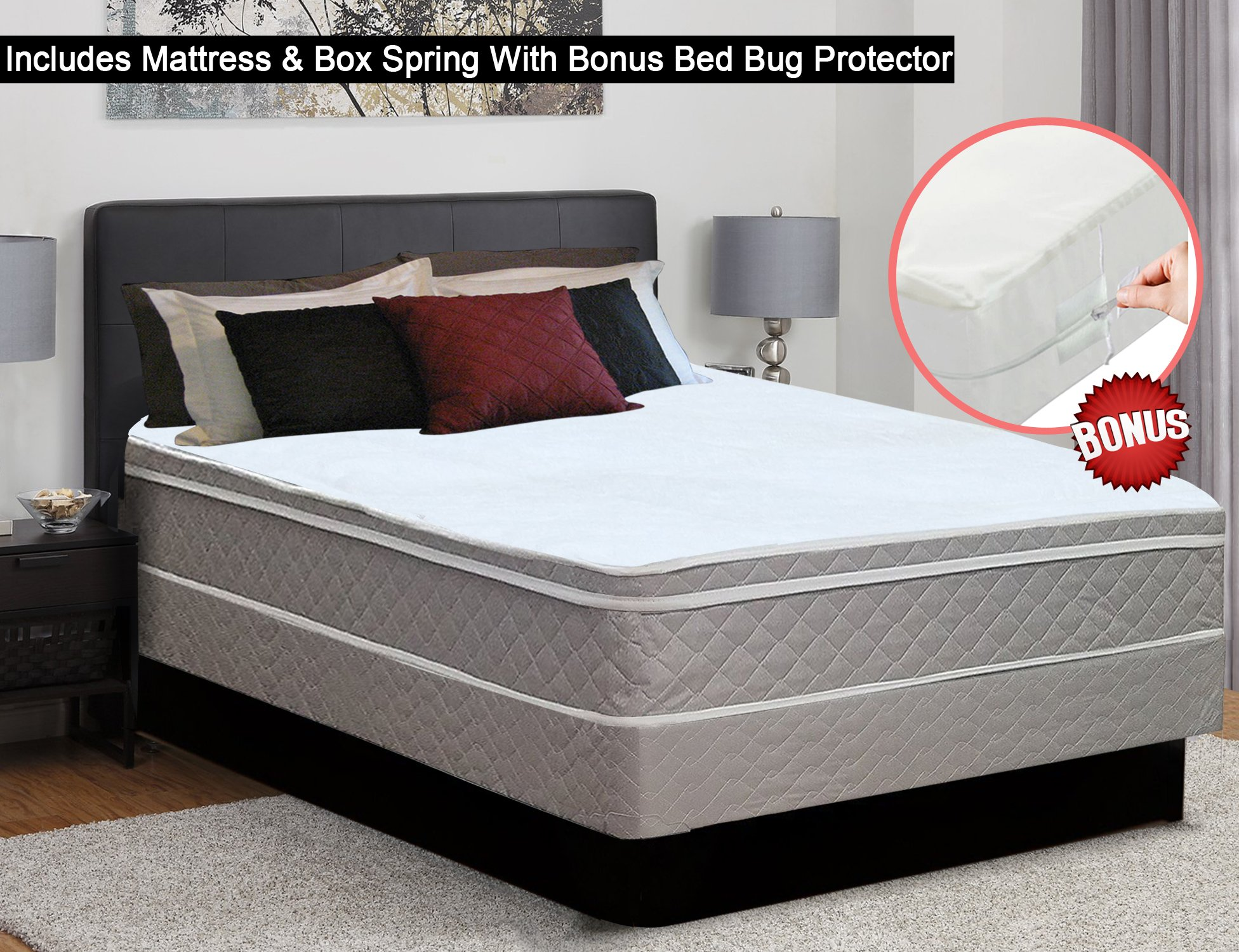 Continental Sleep 10-Inch Medium Plush Eurotop Pillowtop Innerspring Mattress and Traditional Box Spring/Foundation, Good For The Back, No Assembly Required, Queen, Size by Continental Sleep