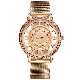 Taylor Cole Reloj Mujer de Moda Esqueleto Cuarzo Acero Inoxidable Reloj de pulsera Oro rosa TC129: Amazon.es: Relojes