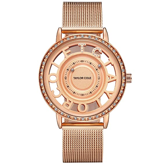 Taylor Cole Reloj Mujer de Moda Esqueleto Cuarzo Acero Inoxidable Reloj de pulsera Oro rosa TC129