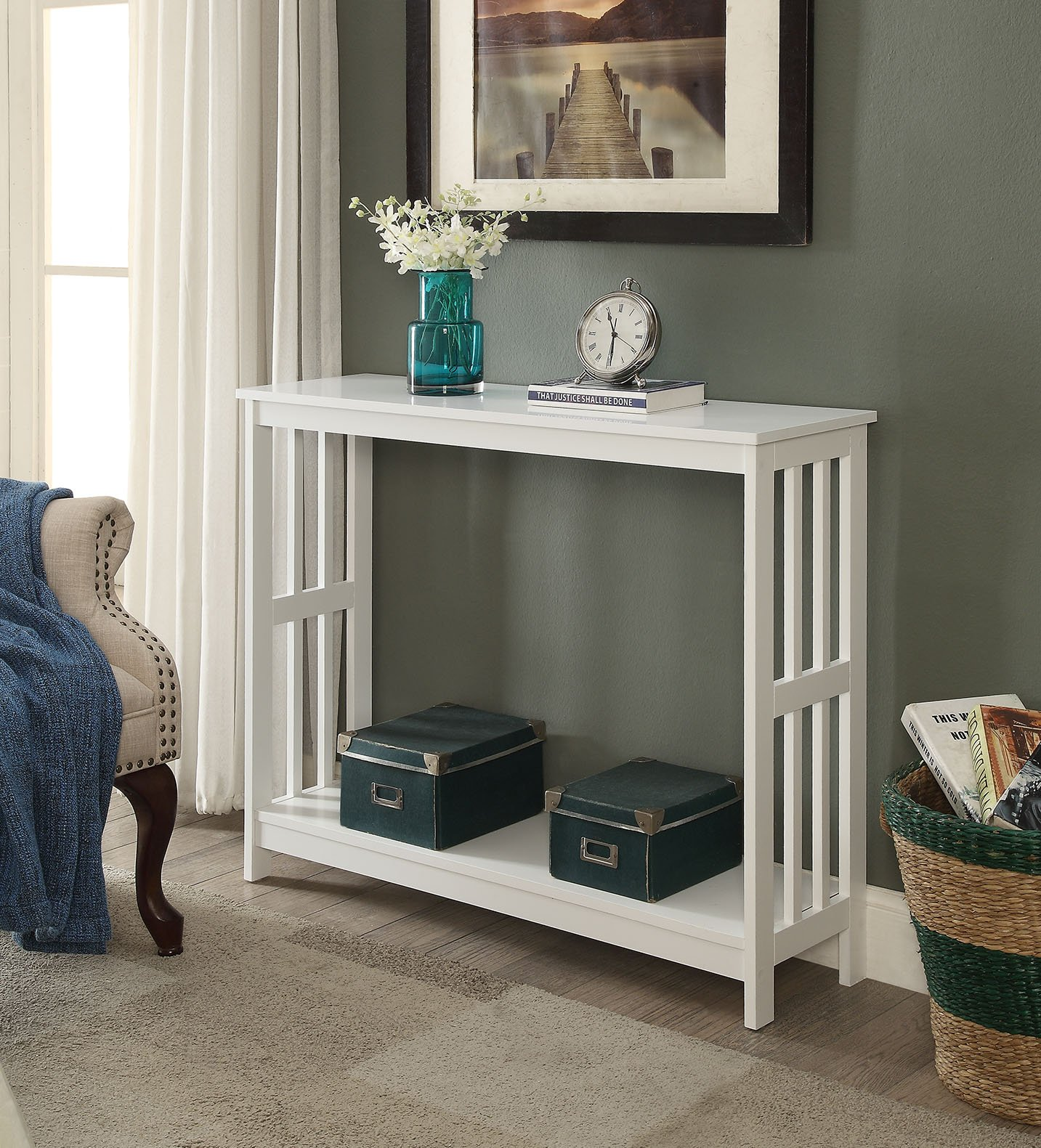 White Finish 2-Tier Occasional Console Sofa Table Bookshelf by eHomeProducts