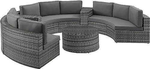 Crosley Furniture KO70036GY Catalina Outdoor Wicker 4-Piece Sectional Set 2 Sofa