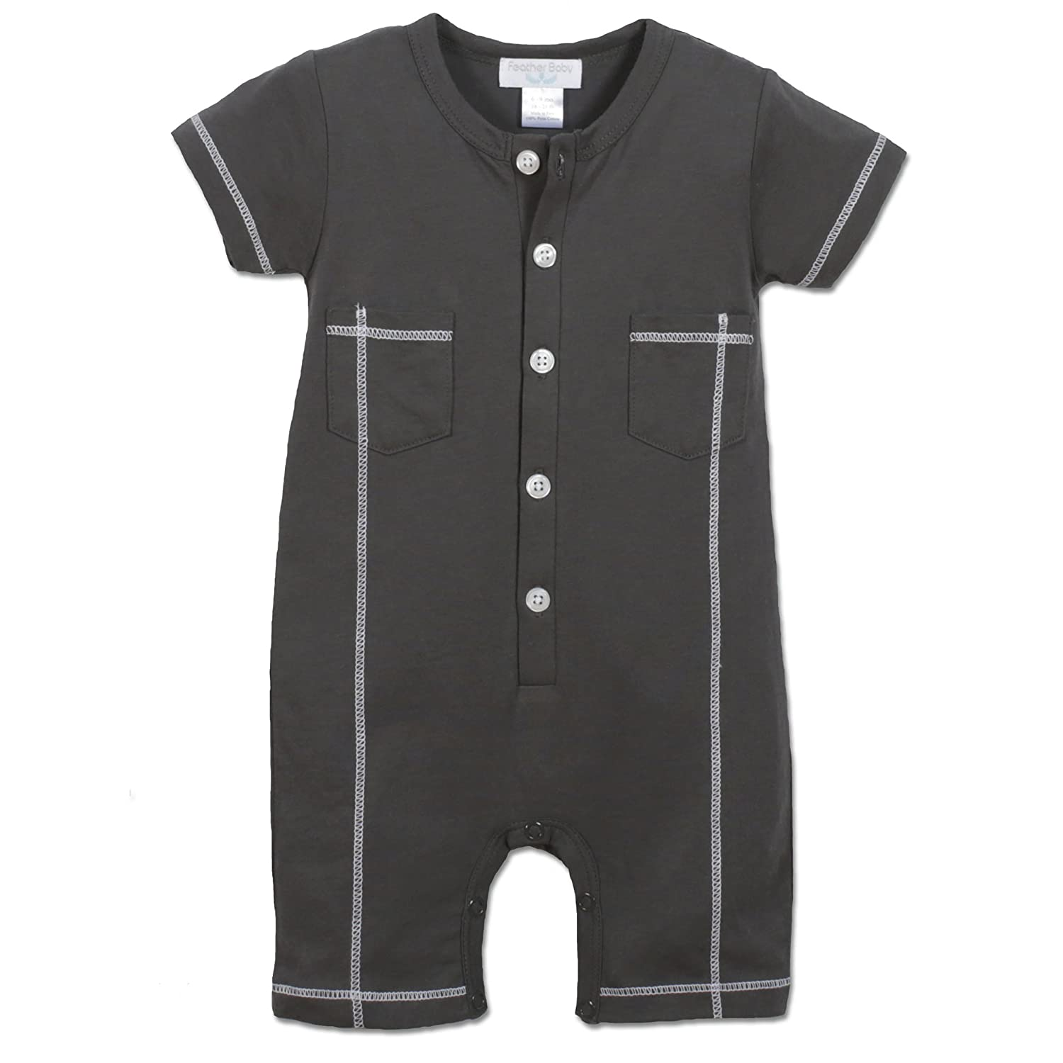 Feather Baby Boys Clothes Pima Cotton Henley Short Sleeve Polo Shortie Stitched Romper