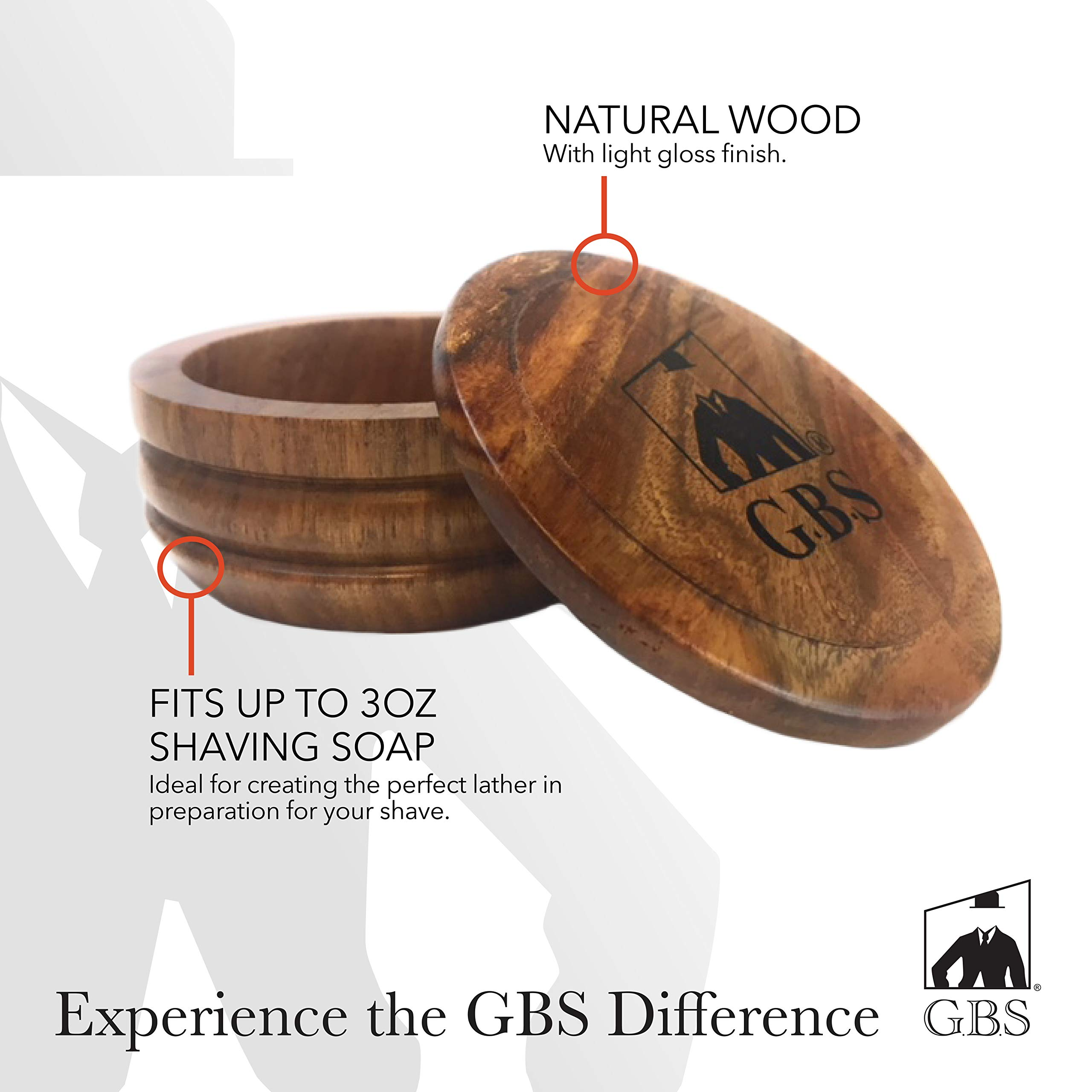 GBS Men's Wood Shaving Bowl with Lid - Keep Shave Cream & Shave Soap Clean with Cover. Wood Grains Will Accent Any Shaving Razor, Shave Brush or Barber Accessory. Enhance Your Wet Shave