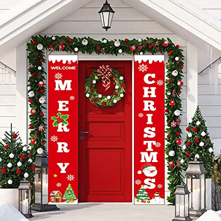 Sayala Christmas Decorations Outdoor Indoor Merry Christmas Porch Sign Red Xmas Decor Banners For Home Wall Door Apartment Party Amazon Co Uk Kitchen Home