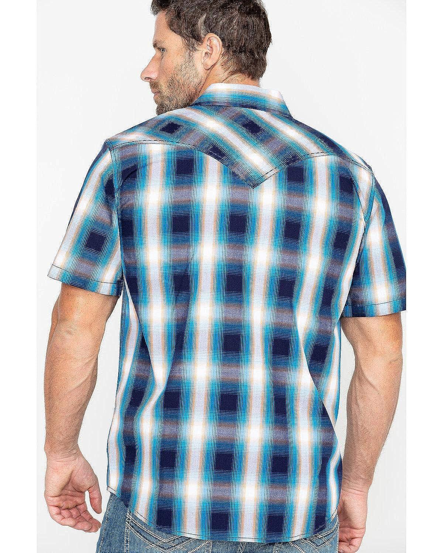 Cmsp19w7-Big Cody James Mens Sunset Valley Ombre Plaid Short Sleeve Western Shirt Big