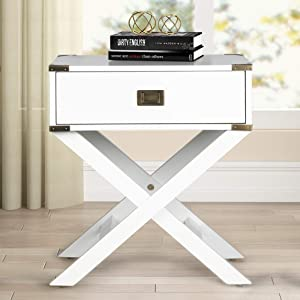 Roundhill Furniture Trava X-Cross Base Wood End Table with Drawer, White
