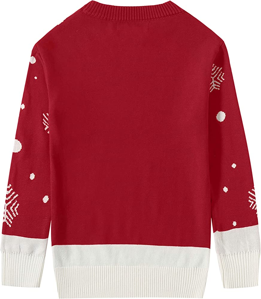 Camii Mia Big Boys Reindeer Snowflake Pullover Crewneck Ugly Christmas Sweater