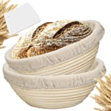 Farielyn-X 2 Packs 9 Inch Bread Banneton Proofing Basket - Baking Dough Bowl Gifts for Bakers Proving Baskets for…