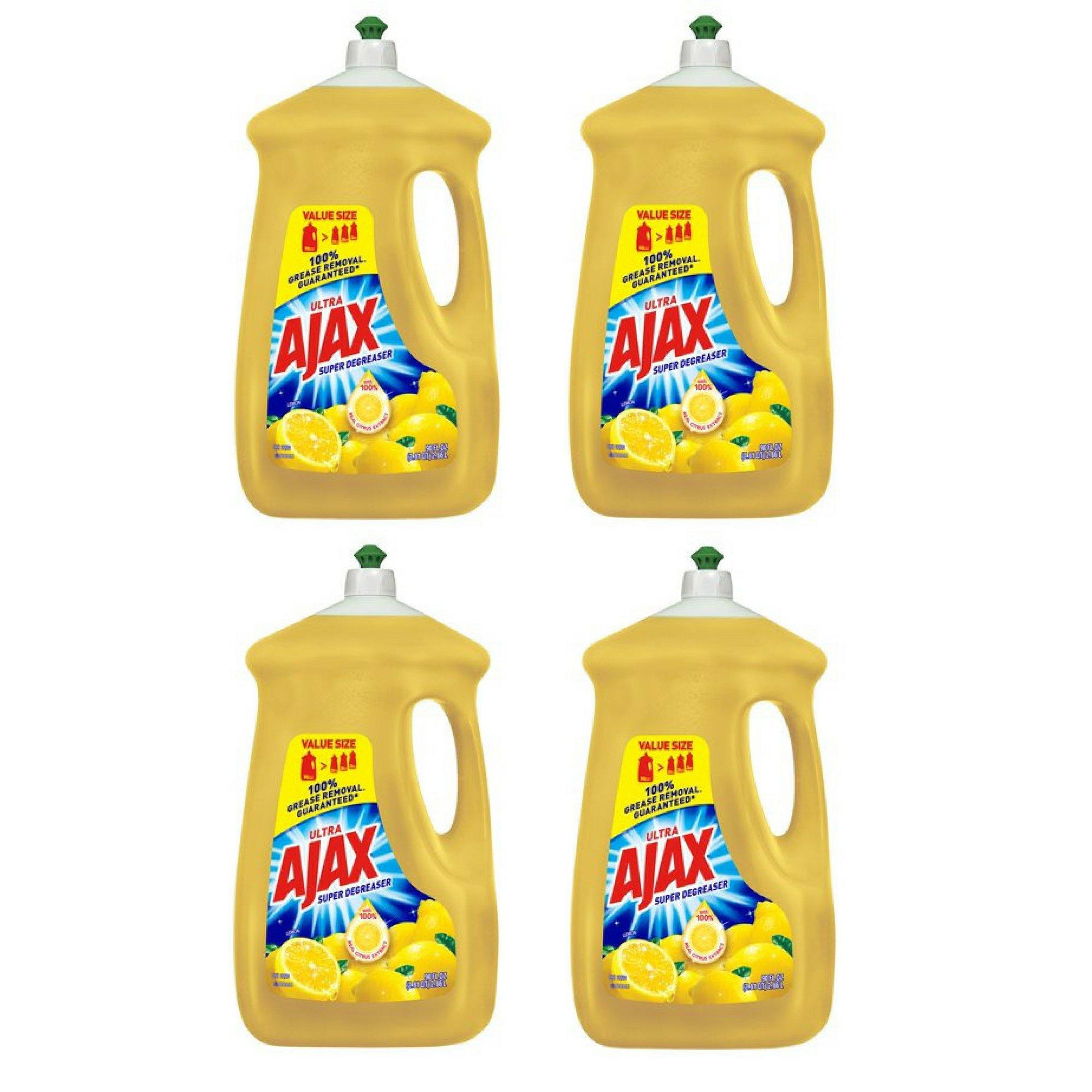 Ajax Ultra Triple Action Liquid Dish Soap, Lemon 90 fl oz - 4 Pack