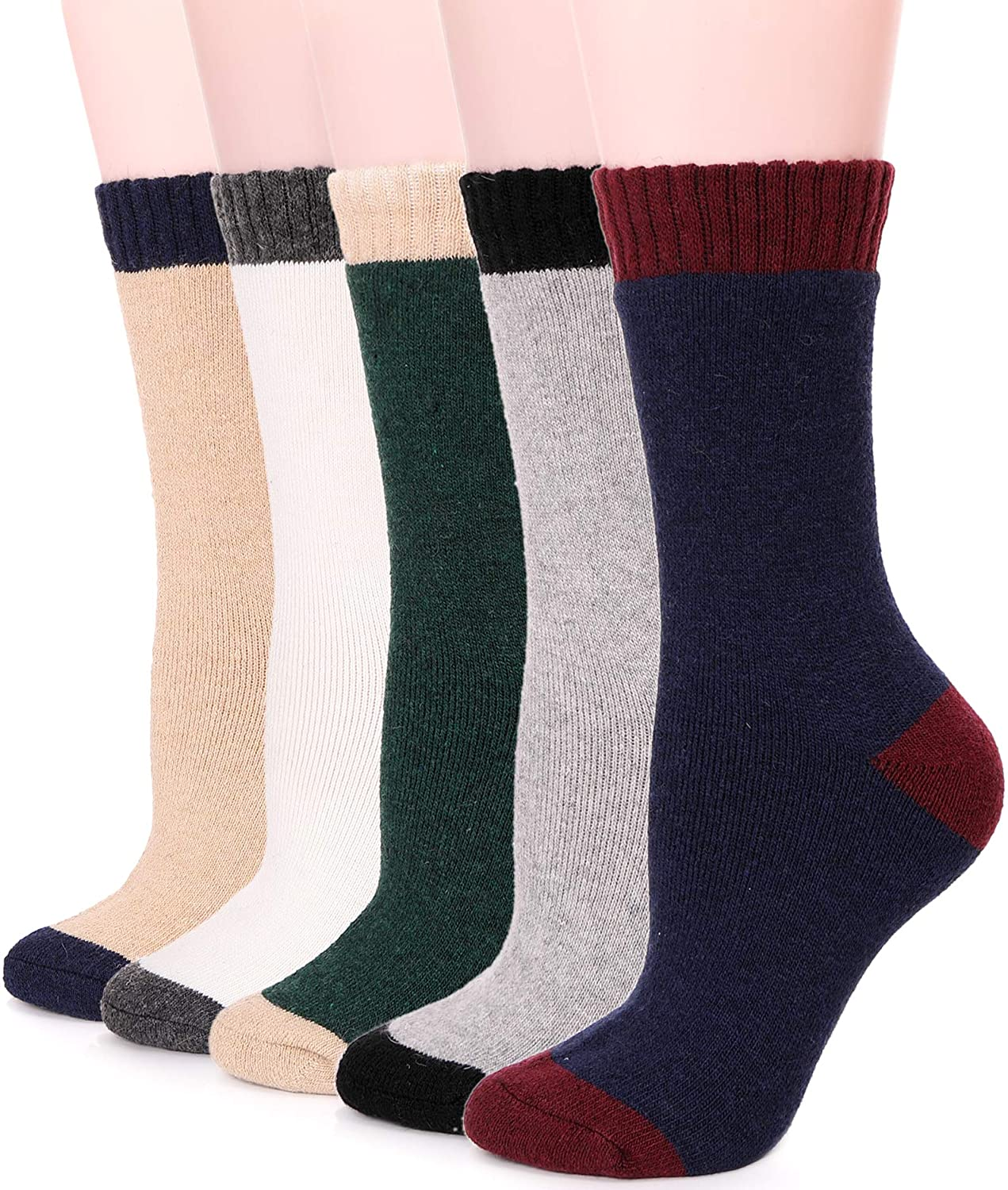 Womens Wool Fuzzy Socks Cabin Thick Heavy Thermal Warm Winter Crew Socks For Cold Weather 5 Pack