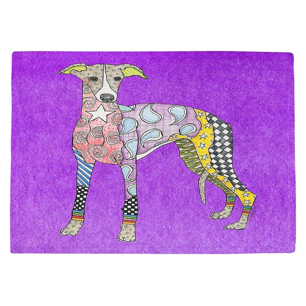 DIANOCHEキッチンPlaceマットby Artist Marley Ungaro – Greyhoundパープル Set of 4 Placemats PM-MarleyUngaroGreyhoundPurple2 Set of 4 Placemats  B01N3PJ964