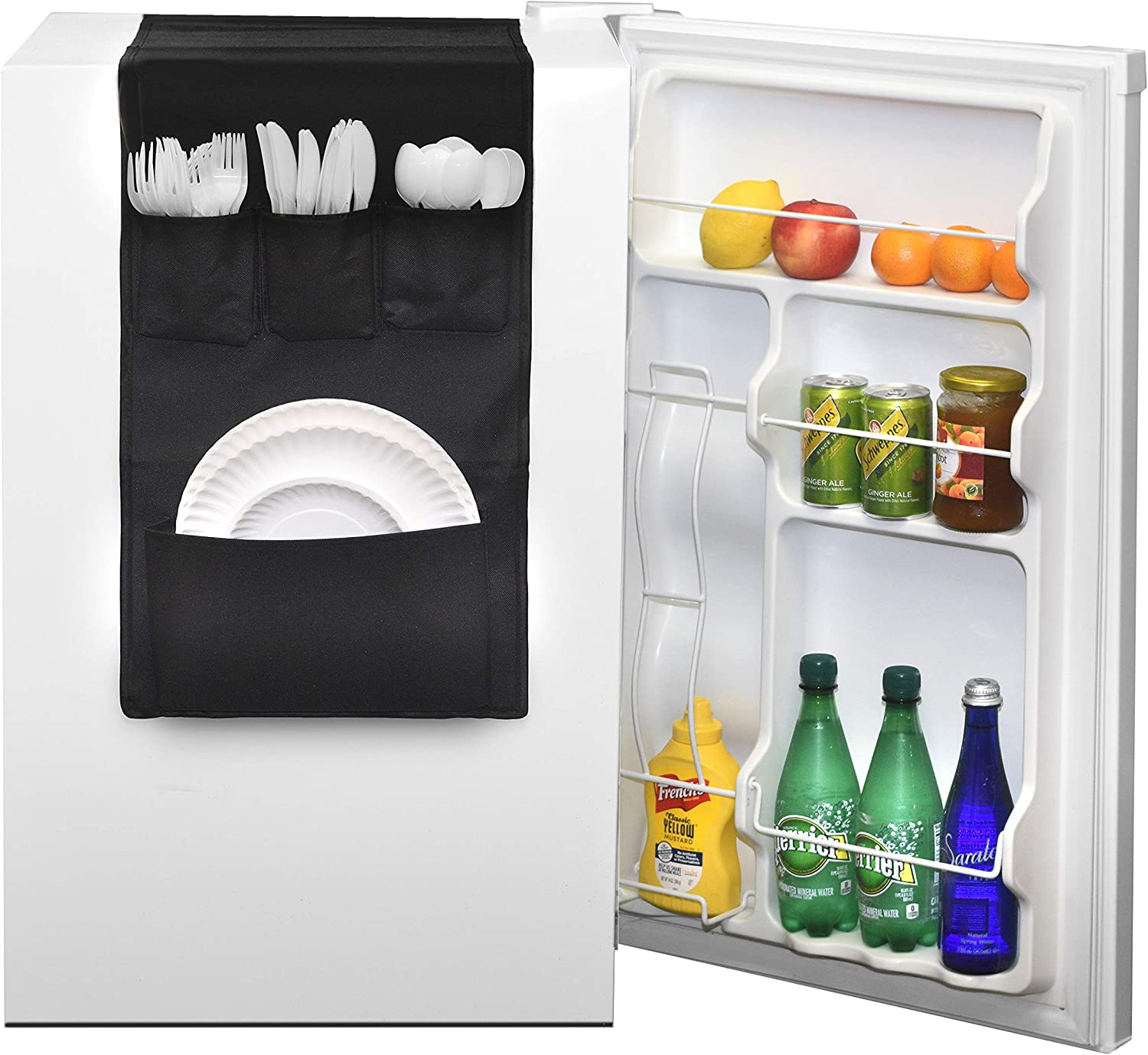 Classic Design - Over the Door Pantry Closet Organizer, Dorm and office Over the Fridge Caddy Organizer, Storage and Paper Goods Organizer (Black)