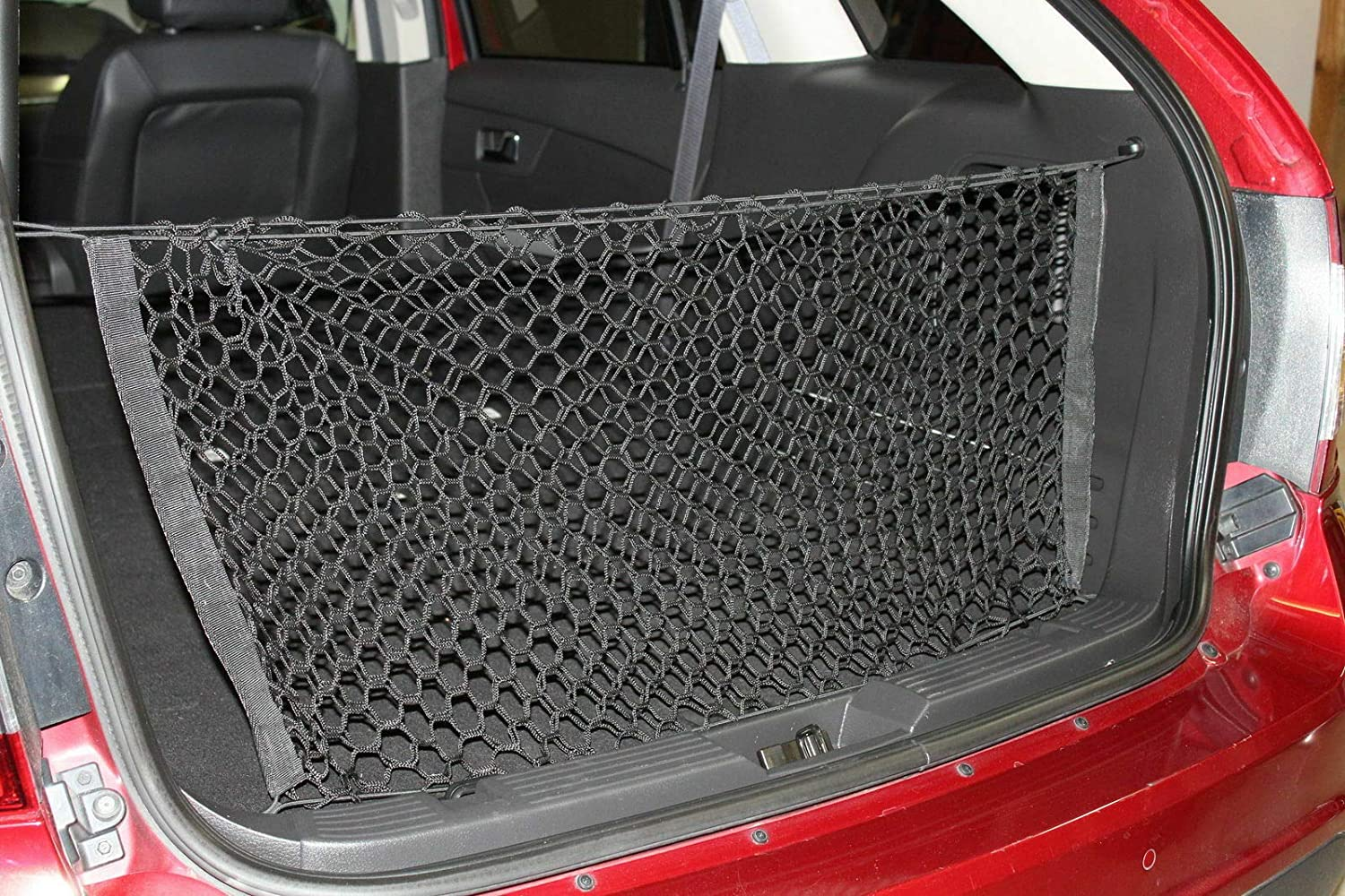 Rear Trunk Area Black Vertical Envelope Style Storage Organizer Web Mesh Luggage Fixed Bungee Compartment Cargo Net Red De Carga Del Maletero Trasero for Ford Edge 2009-2015 Lincoln MKX 2009-2016 New