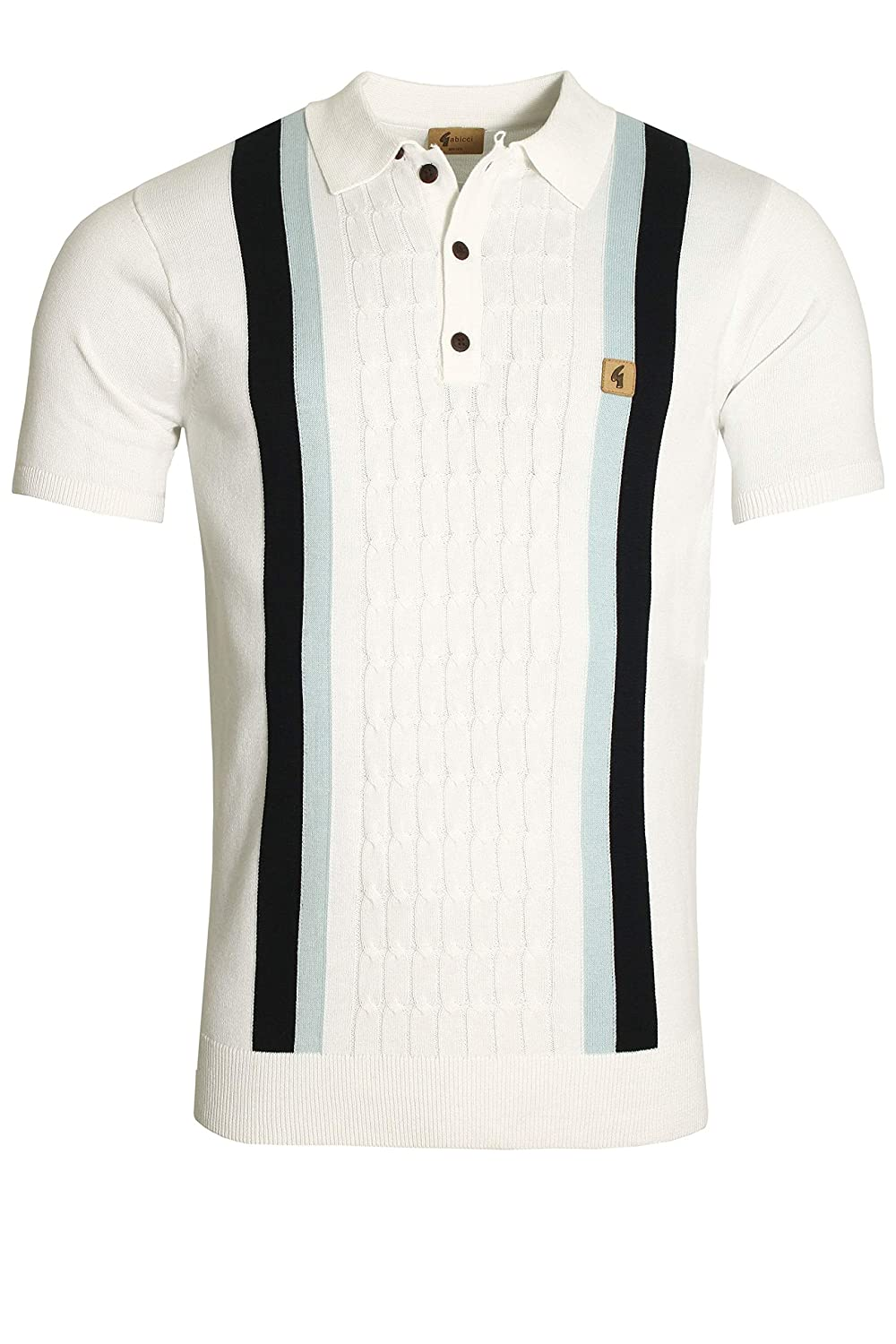 Gabicci Turney Centre Stripe Polo Shirt | White Medium: Amazon.es ...