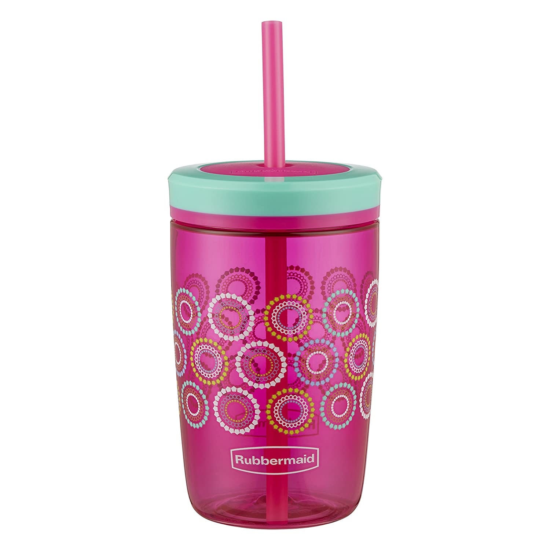 Tart Pink with Round and Round Rubbermaid Straw Kids Tumbler 16 oz