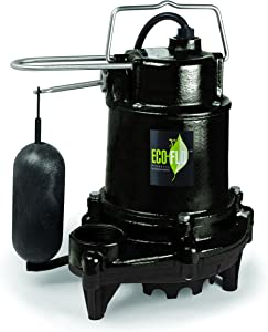 ECO-FLO Products EFSA50 1/2 hp 5100 Gph Cast Iron Sump Pump with Vertical Switch, Black