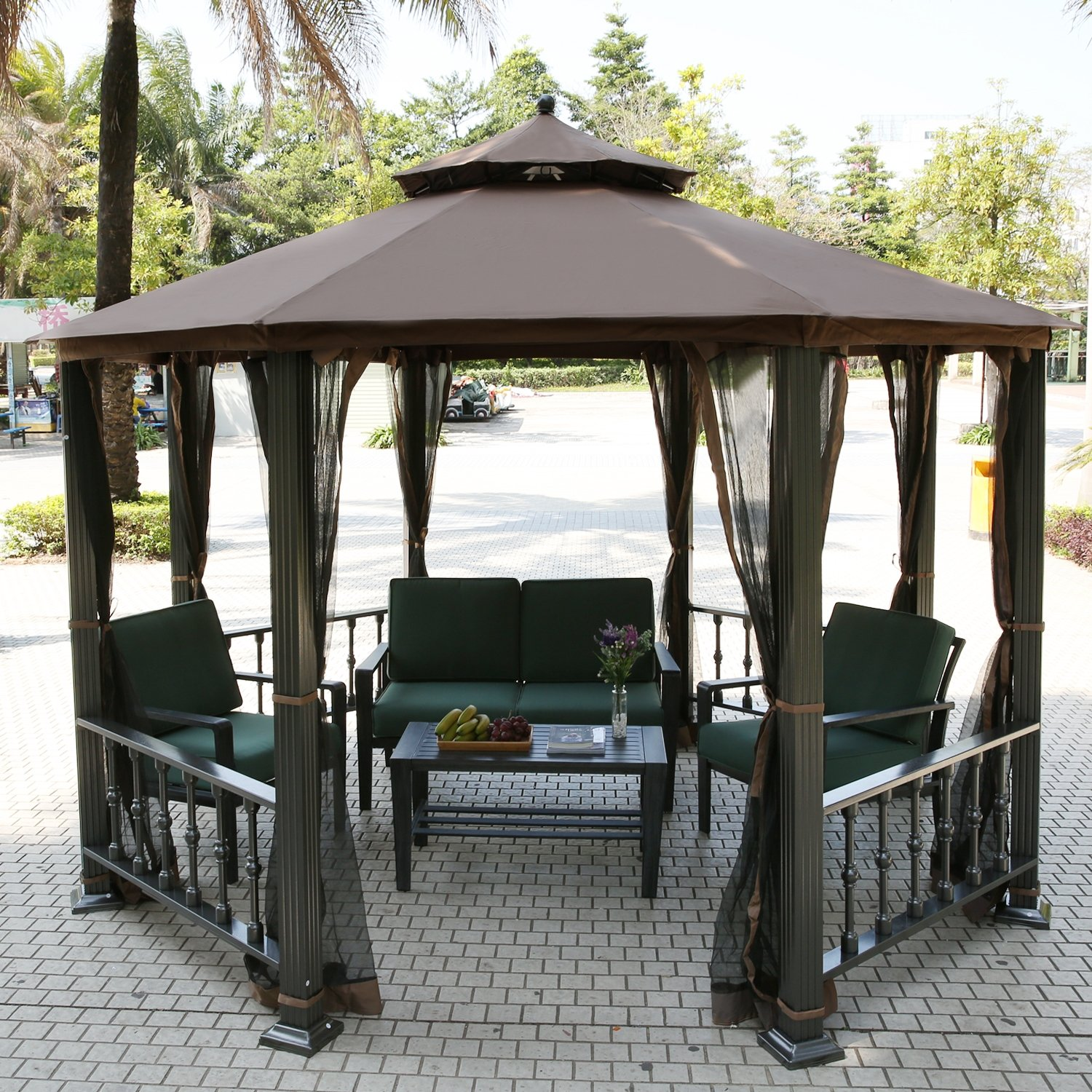 teamyy aluminium garten pavillon gazebo berdachung pavillion partyzelt terrasse m bel g nstig. Black Bedroom Furniture Sets. Home Design Ideas