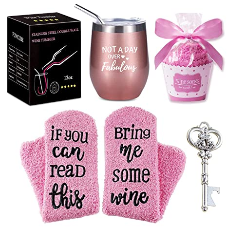 Wine Tumbler with Saying + Cupcake Wine Socks Gift Set | 12 oz Stainless  Steel Double Insulated Stemless Wine Glass with Lid and Straw + Key Bottle
