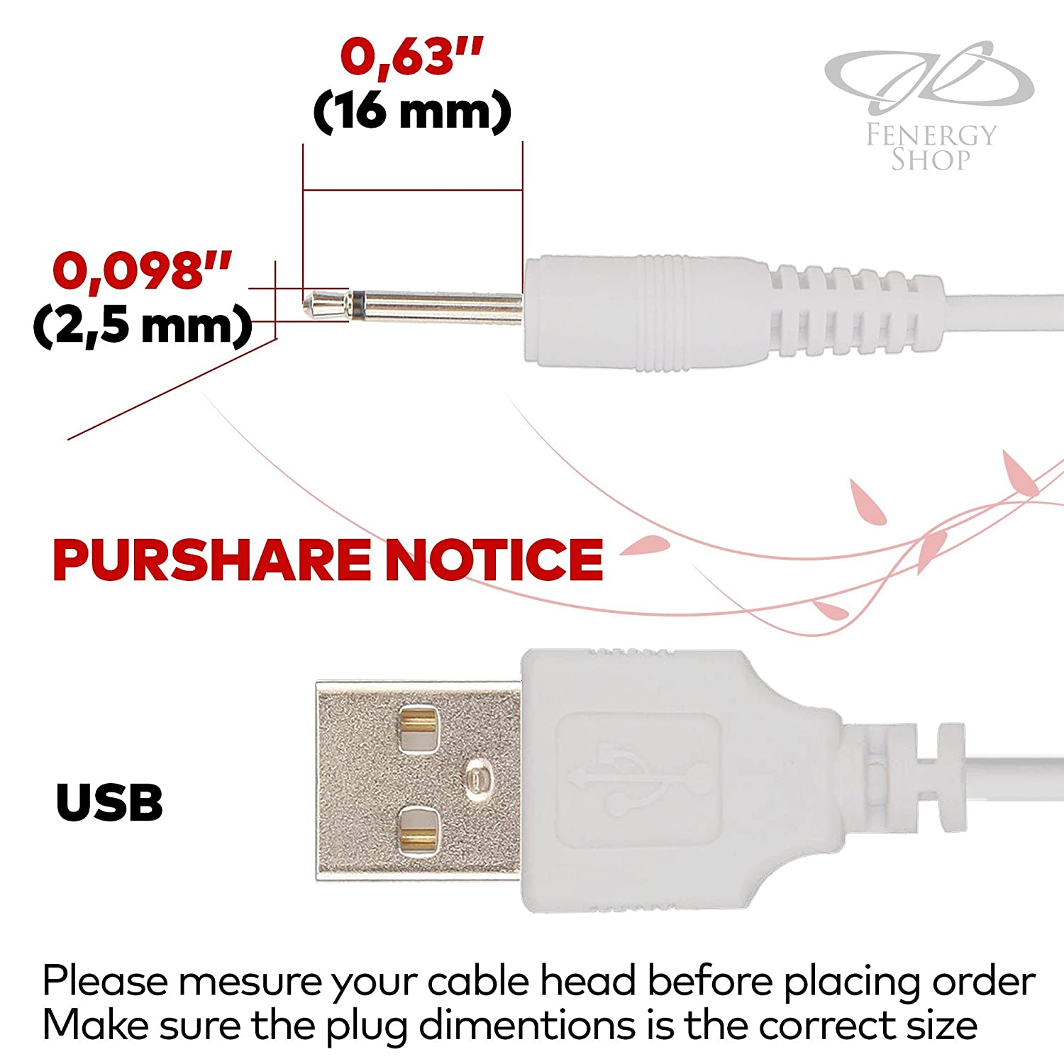 Charging Cord for Mini Halo 1 Pack 2.5mm White Fast Charging Rechargeable Device USB Adapter