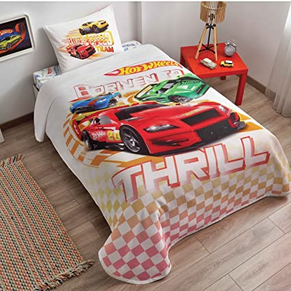 Delightful Original Hot Wheels Single/Twin 100% Cotton Bedding Bedspread/Coverlet Set  3 Pcs