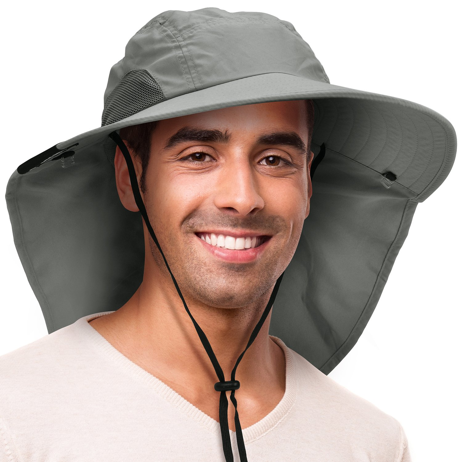 d8c0ee9a2a5efc Solaris Outdoor Fishing Hat with Ear Neck Flap Cover Wide Brim Sun  Protection Safari Cap for Men Women Hunting, Hiking, Camping, Boating &  Outdoor ...