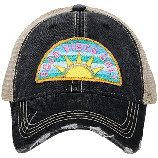 f1b936b46 Katydid Womens Good Vibes Sunshine Patch Trucker Hat, Black at ...