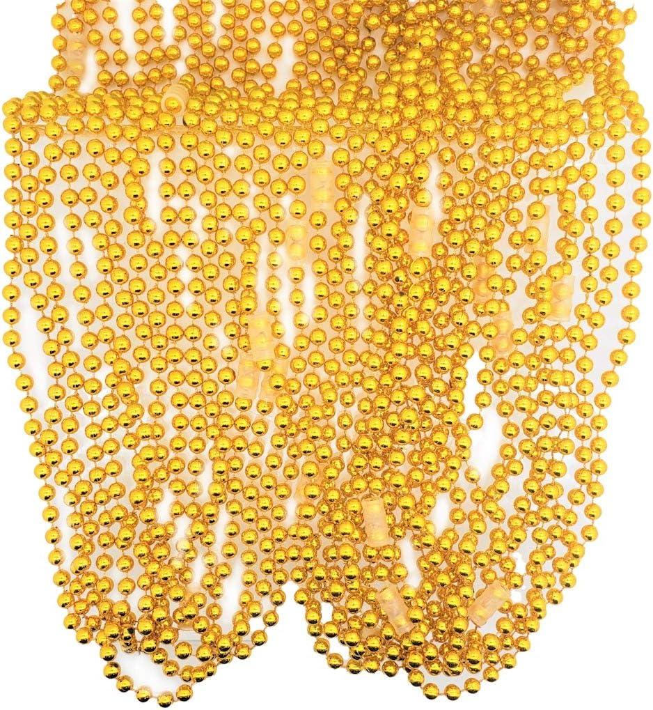 Zugar Land 33 Round Metallic Gold Beads Mardi Gras Necklaces 12 Necklaces