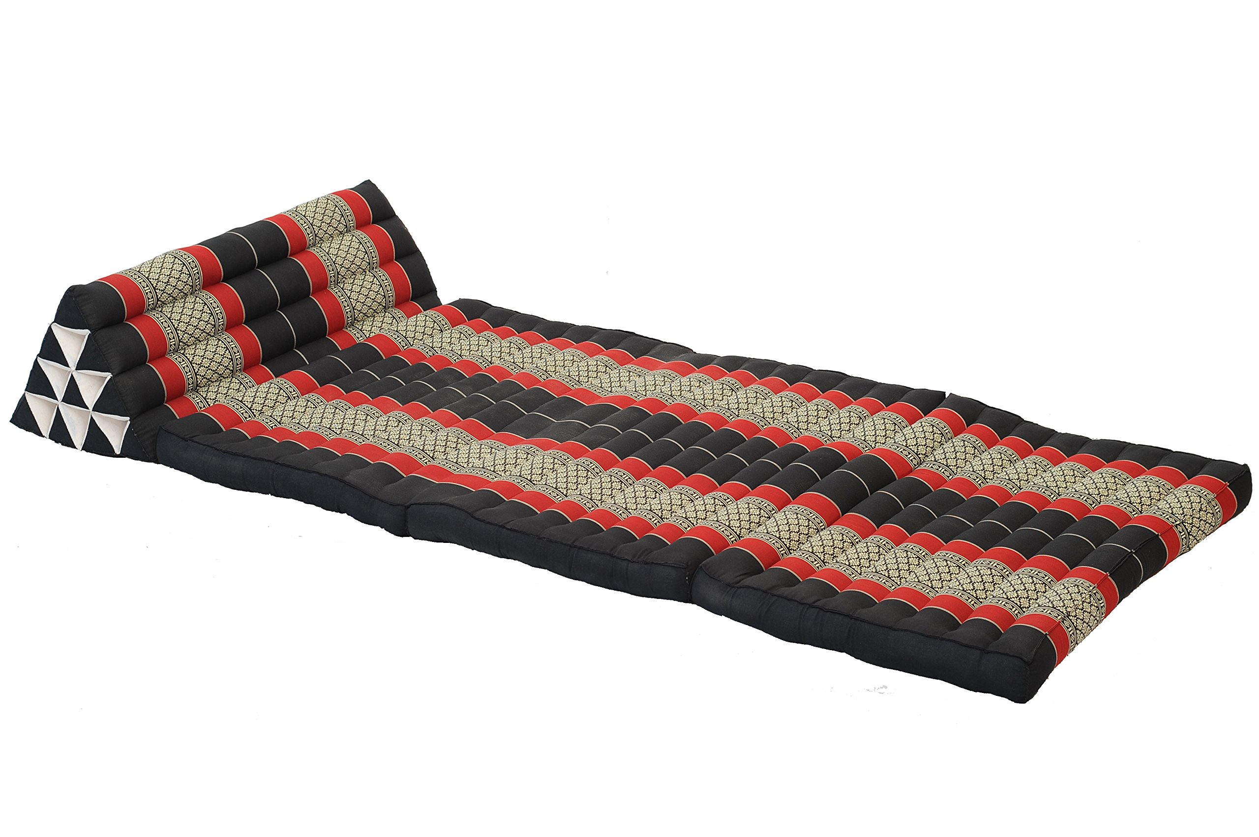 Lush Thai Matress (XXXL), foldable, with triangular headrest, Thai Design Blackred by Handelsturm