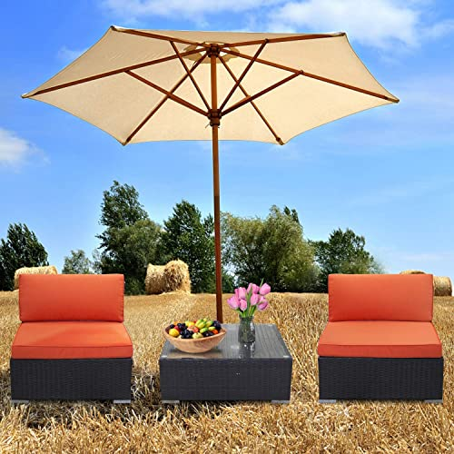 EXCITED WORK Outdoor Sectional Couch Set-3 Piece Patio Rattan Wicker Furniture Set