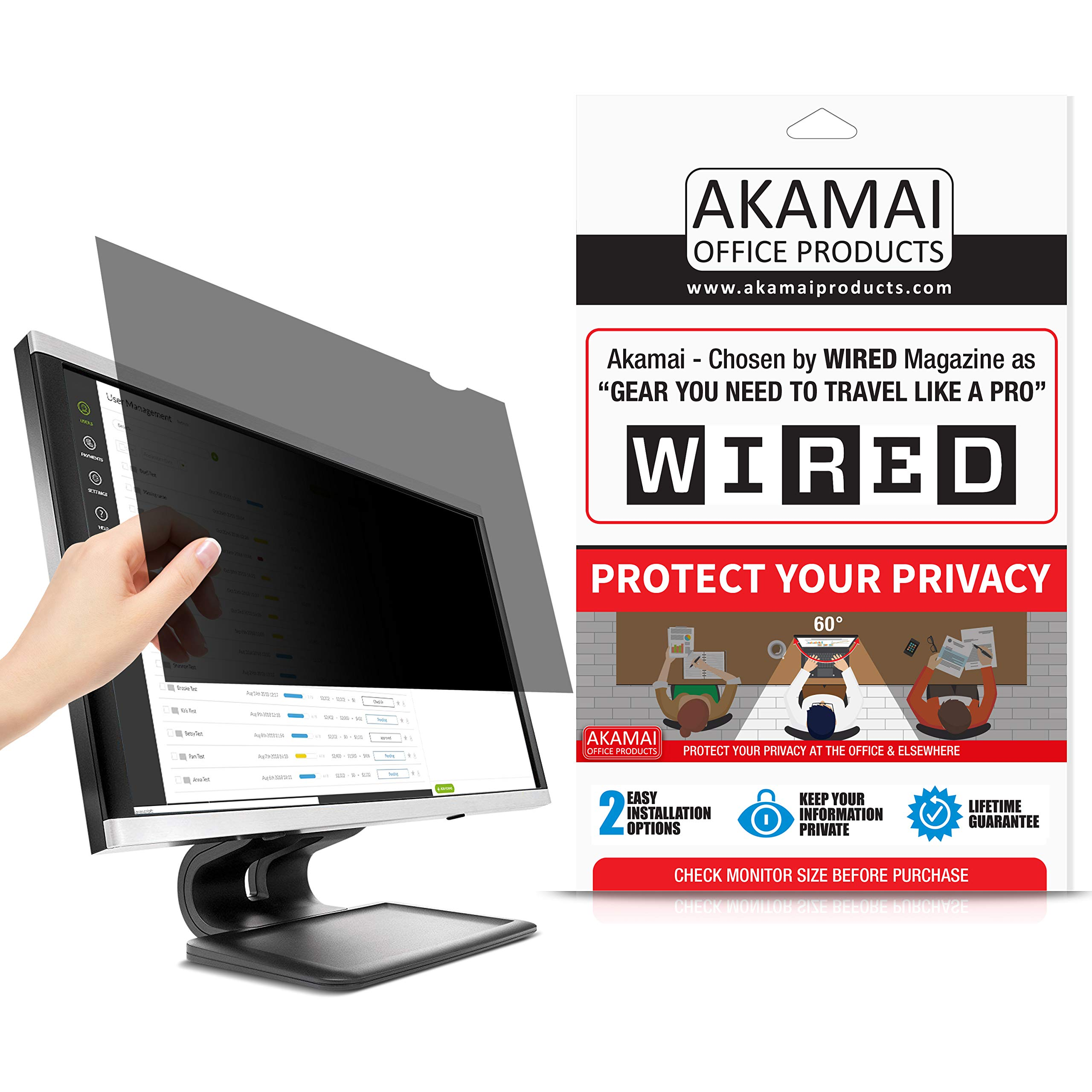 27'' Akamai Computer Privacy Screen (16:10) - Black Security Shield - Desktop Monitor Protector - UV & Blue Light Filter by Akamai Office Products