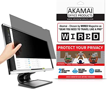 "27"" Akamai Computer Privacy Screen (16:10) - Black Security Shield - Desktop Monitor Protector - UV & Blue Light Filter"