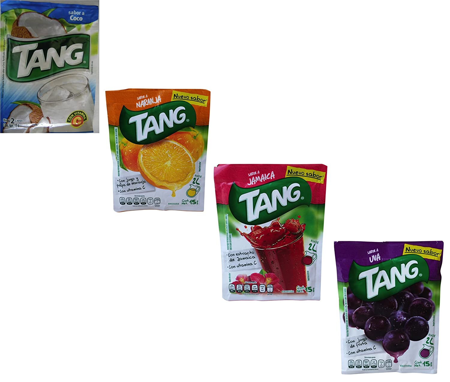 Amazon.com : Tang Powdered Drink Mix, Packets Make 2 Liters (Pack of 24) Grape, Hibiscus, Orange, Coconut : Powdered Soft Drink Mixes : Grocery & Gourmet ...
