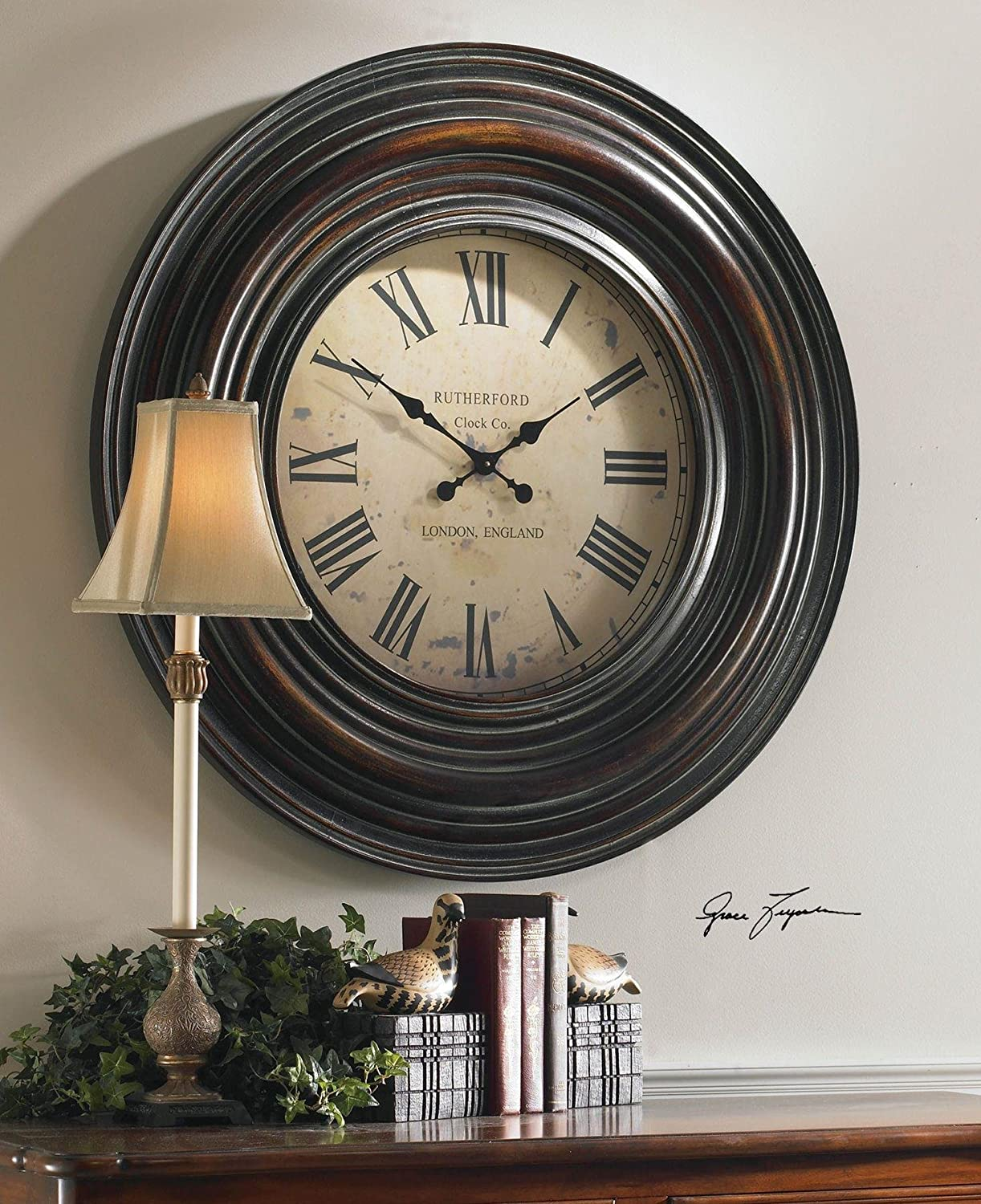 Amazon uttermost trudy 38 wooden wall clock home kitchen amipublicfo Choice Image
