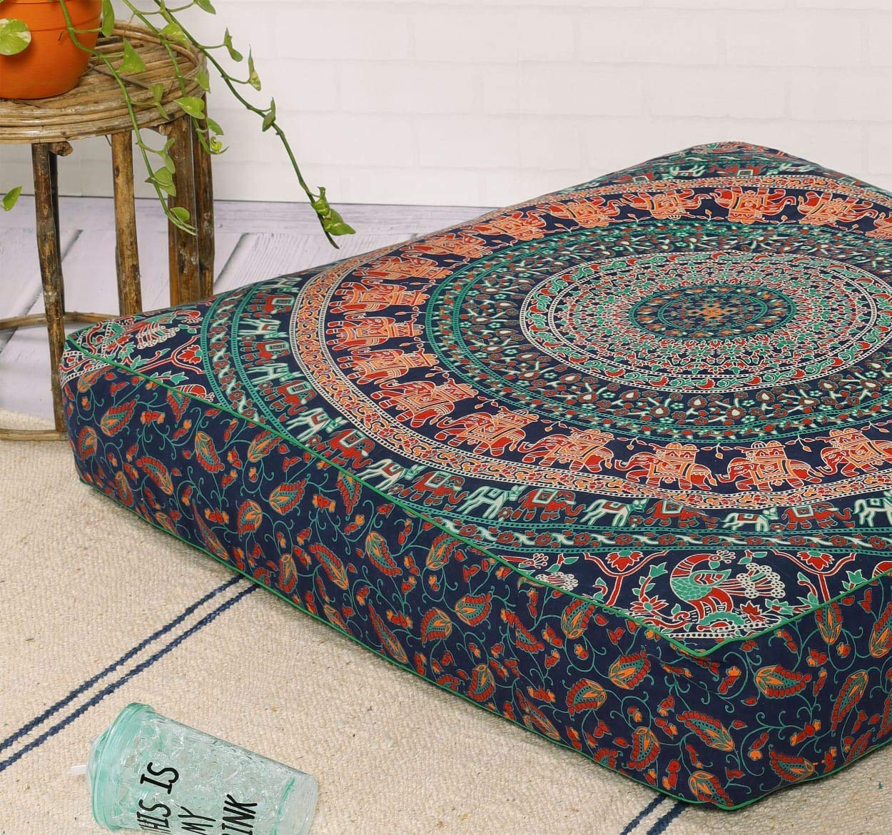 Indian Mandala Square Floor Pillow Cover Ottoman Pouf Cover Daybed Oversized Cotton Cushion Cover with Heavy Duty Zipper Seating Ottoman Poufs Dog-Pets Bed 35'' by Hemsi-77