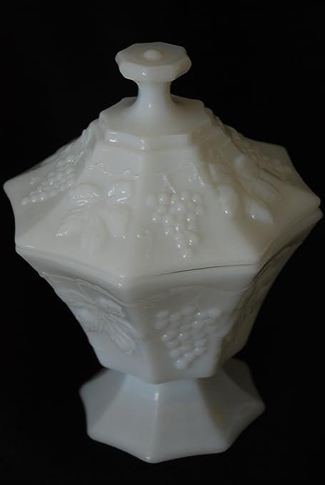 Amazoncom Indiana White Milk Glass Pedestal Harvest Grapes Candy