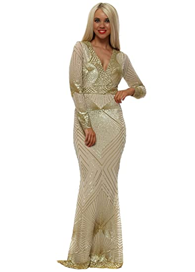 45ae471f97 Goddess London Stephanie Pratt Starburst Gold Sequin Maxi Dress   Amazon.co.uk  Clothing