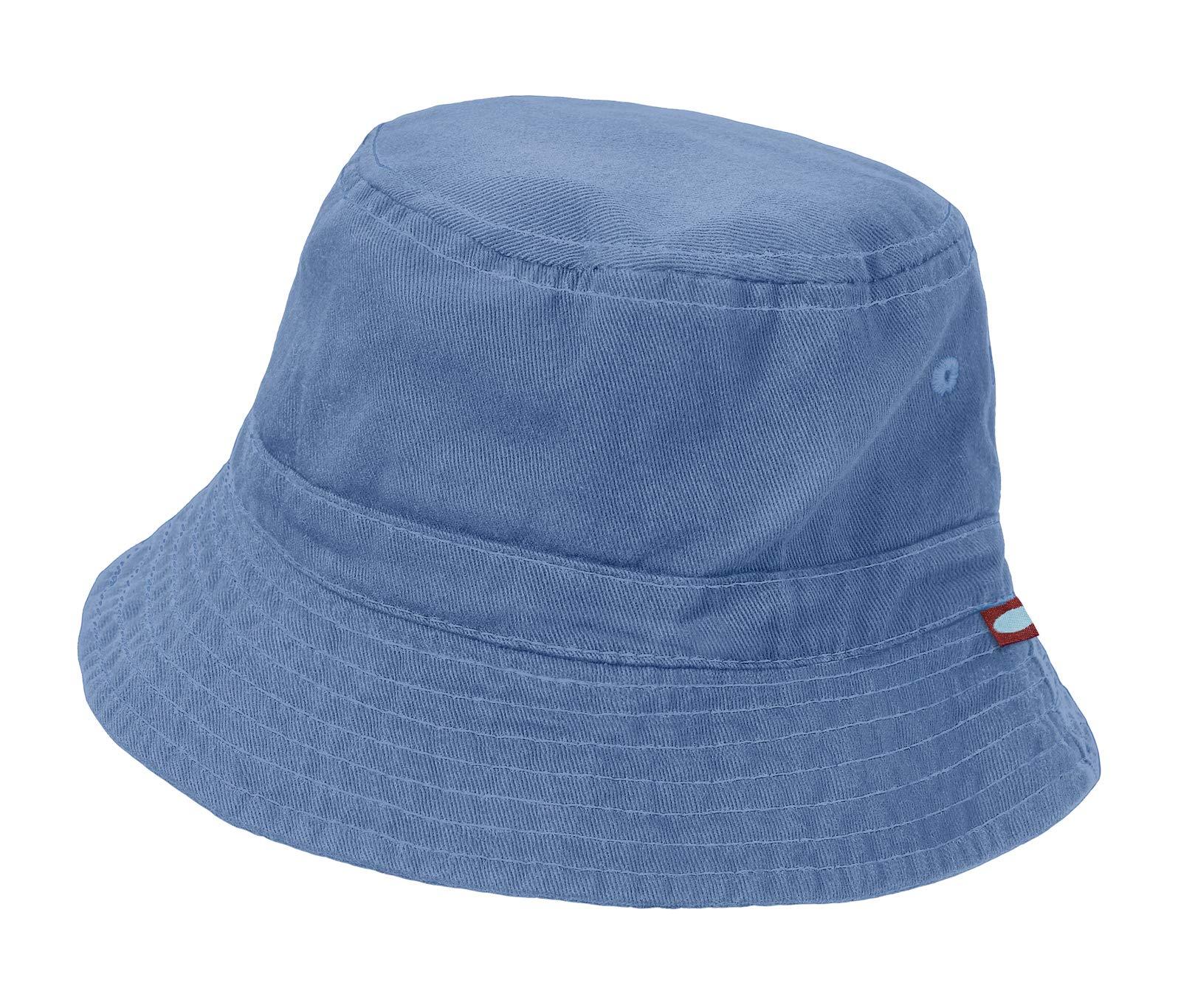 City Threads Unisex Baby Solid Wharf Hat Bucket Hat for Sun Protection SPF Beach Summer - Denim Blue - M(6-18M)