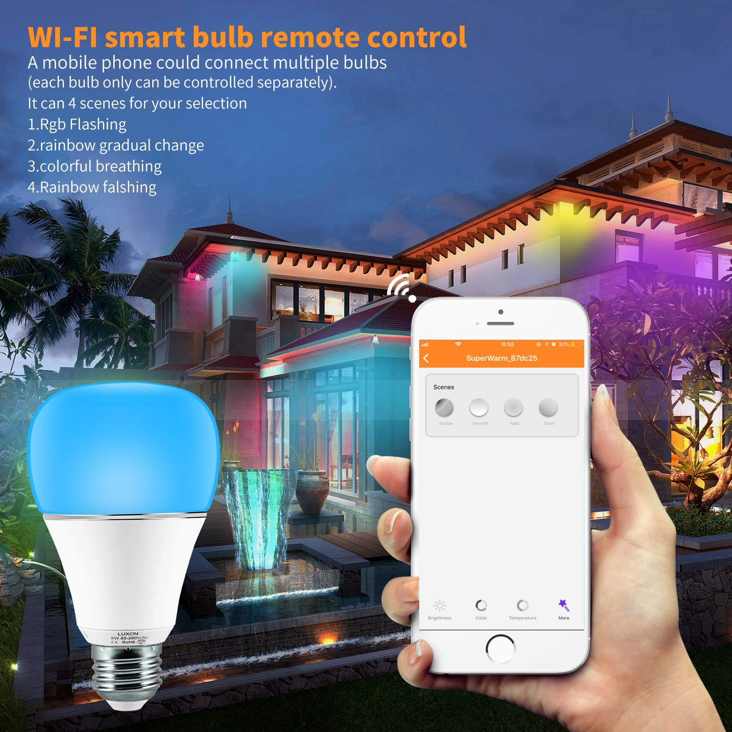 Smart WI-FI LED Light Bulb RGBW Color Changing E26 Base Smart Dimmable Light Bulb Smartphone Controlled Work with Amazon Alexa/ Google Home by LUXON by LUXON (Image #5)